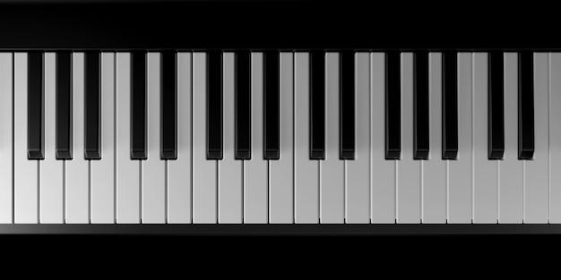 Licht en schaduw van piano in de duisternis Premium Foto