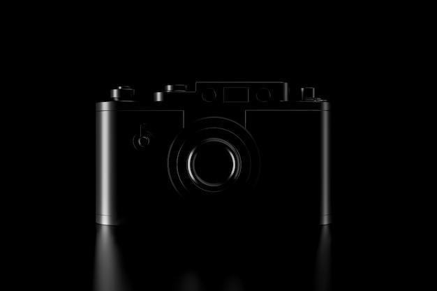 Licht en schaduw van vintage camera in de duisternis Premium Foto