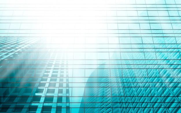 Licht turquoise wolkenkrabber reflectie perspectief achtergrond. Premium Foto