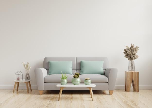 Lichte En Gezellige Moderne Woonkamer Interieur Hebben Bank En Lamp Op Witte Muur Premium Foto