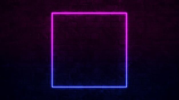Lichtend vierkant neonteken. paars en blauw neonframe. donkere bakstenen muur. Premium Foto