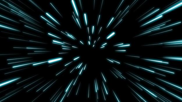 Lijnvorm neon blauw en rood licht donkere strepen eenvoudig. Premium Foto