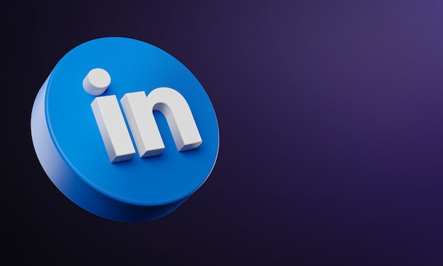 Linkedin circle button icon 3d met kopie ruimte Premium Foto