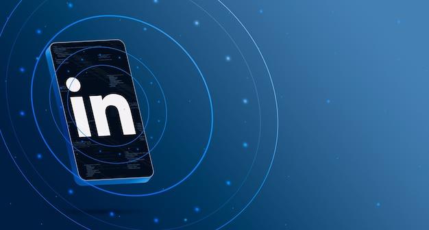 Linkedin logo op telefoon met technologische weergave, slimme 3d render Premium Foto