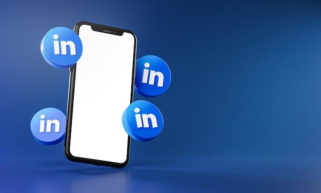 Linkedin-pictogrammen rond 3d-rendering van smartphone-app Premium Foto