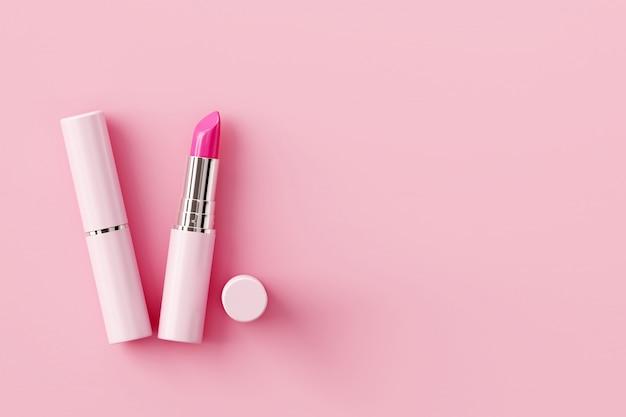 Lippenstift op pastel roze achtergrond. schoonheid concept. Premium Foto