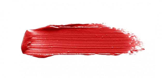 Lippenstift penseelstreek geïsoleerd op wit Premium Foto