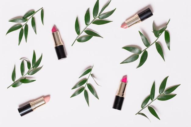 Lippenstiften en plant takken op wit Gratis Foto