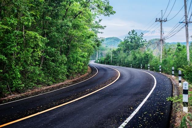 Lokale weg, landschapsstraat anadegroene achtergrond Premium Foto