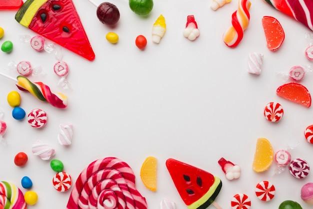 Lollies en snoepjes met kopie ruimte Gratis Foto