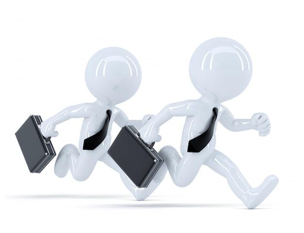 Lopende zakenmensen. conceot van concurrentie. geïsoleerd. bevat uitknippad Premium Foto
