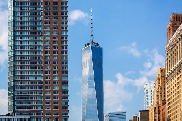 Lower manhattan nieuwe skyline freedom tower us Premium Foto