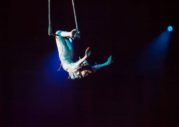 Luchtcircusvoorstellingen in het circus Premium Foto