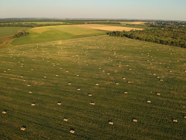 Luchtfoto aan gestapeld hooi op het tarweveld onder hemel. ambrosia veld. drone fotografie. Premium Foto