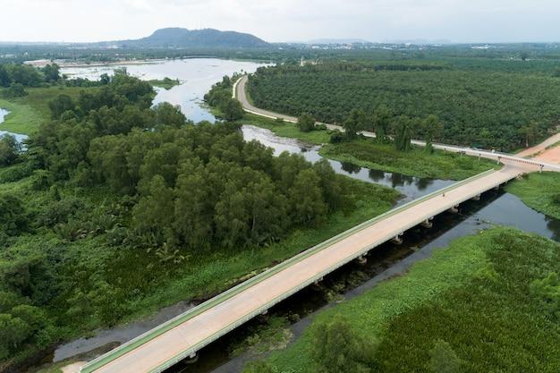 Luchtfoto drone shot van weg tussen groen veld zomer bos en rivier en meer in suratthani thailand. Premium Foto