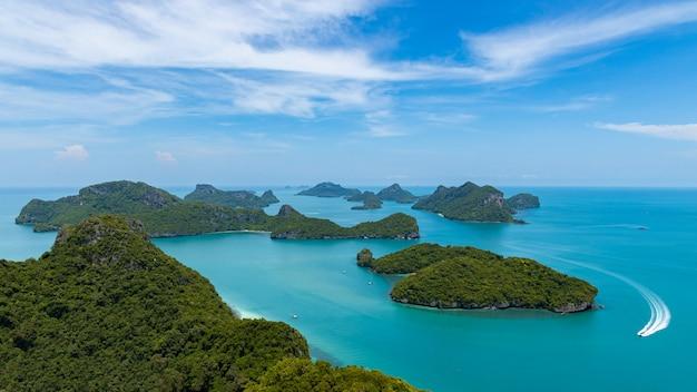 Luchtfoto mu koh angthong view point, surat thani, ten zuiden van thailand. Premium Foto