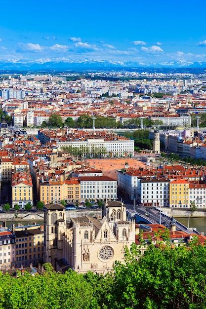 Luchtfoto van de stad lyon, frankrijk Gratis Foto