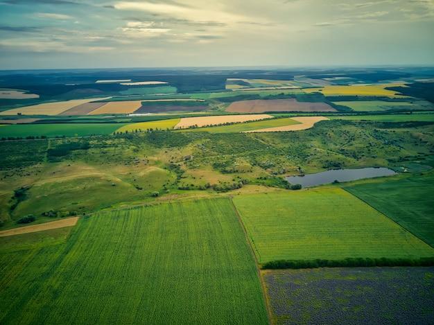 Luchtfoto van een landschap met lavendel en tarweveld Premium Foto