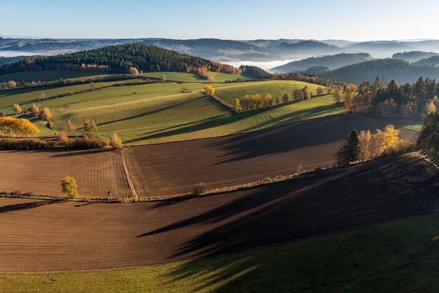 Luchtfoto van een prachtig groen landschap met veel bomen en met gras begroeide heuvels Gratis Foto