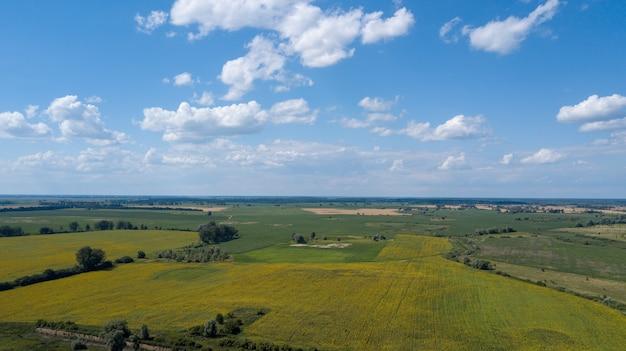 Luchtfoto van een prachtige zonsondergang over zoete maïs velden - agrarische velden Premium Foto