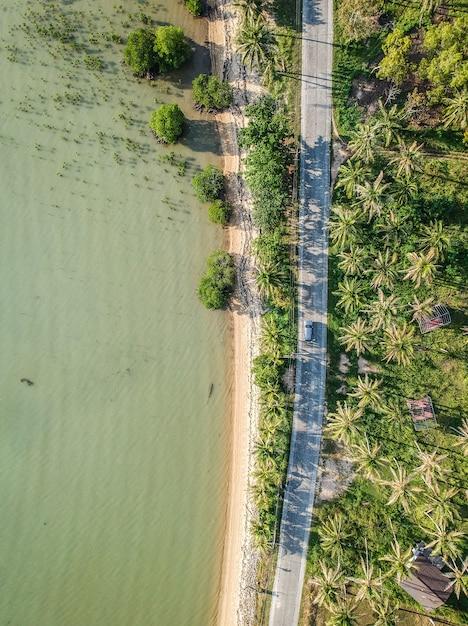 Luchtfoto van een weg naast de bomen en het meer Gratis Foto