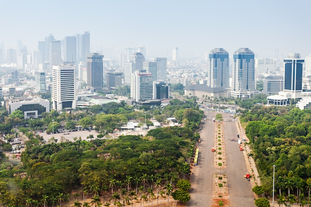 Luchtfoto van jakarta Premium Foto