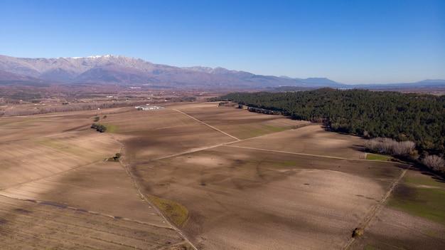 Luchtfoto van oogstgebieden Premium Foto