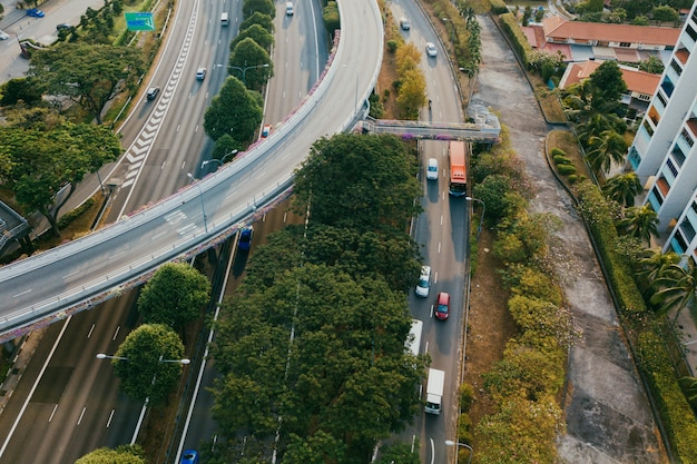 Luchtfoto van snelwegen Gratis Foto