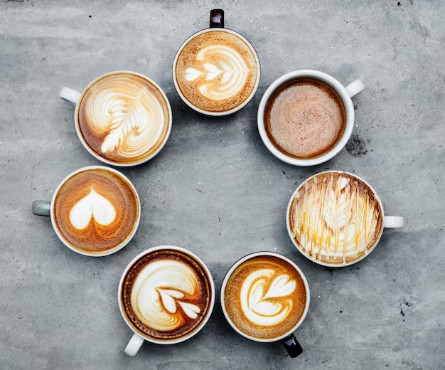 Luchtfoto van verschillende koffie Gratis Foto