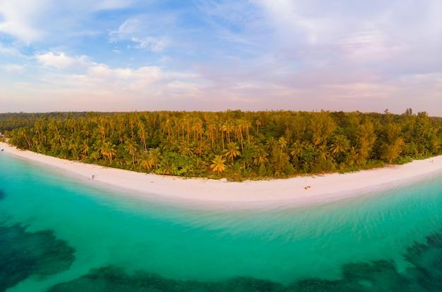 Luchtmening het tropische ertsader caraïbische overzees van het strandeiland. indonesië molukken Premium Foto