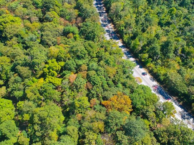 Luchtmening over een weg in een bos bij platteland. Premium Foto