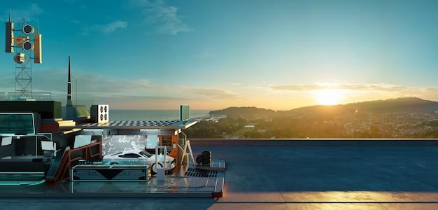 Luchtpanorama van elektrische auto en futuristisch laadstation met prachtig zonsopganglandschap. schone energietoekomst en ecologie van transportconcept. fotorealistische 3d-weergave. Premium Foto