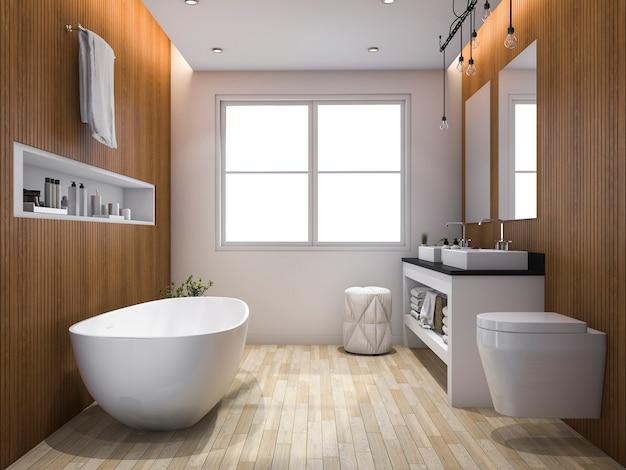 Luxe badkamer en toilet in houtstijl Premium Foto