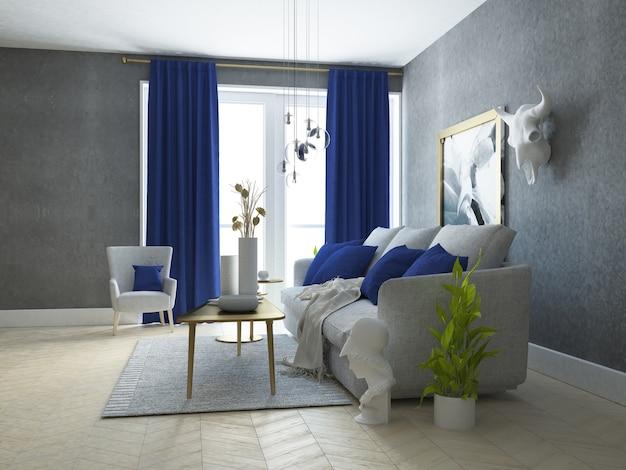 Luxe en sjieke woonkamer met gouden decoratie Premium Foto