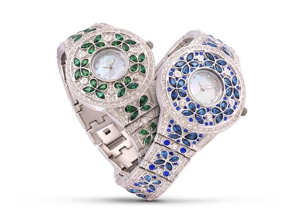 Luxe horloges op wit Premium Foto