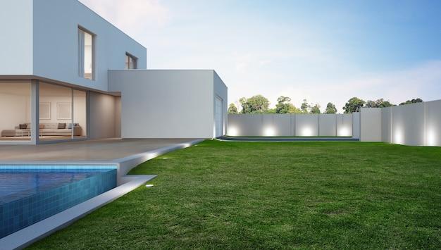 Luxe huis met zwembad en terras in de buurt van gazon in modern