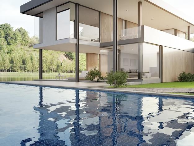 Luxe huis met zwembad en terras met uitzicht op het meer in een modern design. Premium Foto