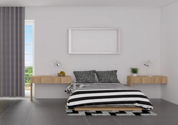 Luxe slaapkamer interieur in Scandinavische stijl met mock up poster ...