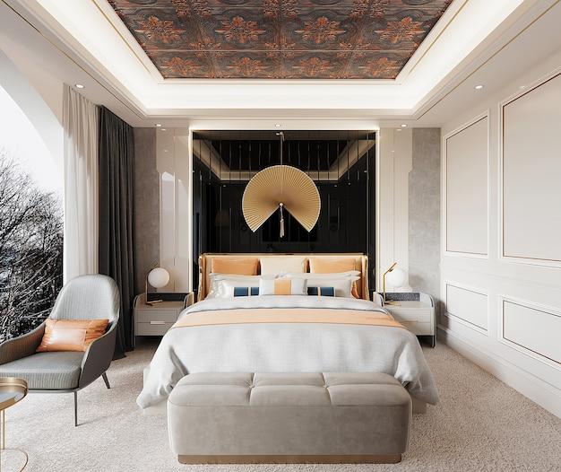Luxe slaapkamer met bed en fauteuil Premium Foto