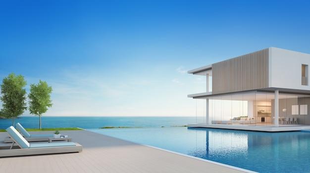 Luxe strandhuis met uitzicht op zee zwembad en terras in modern