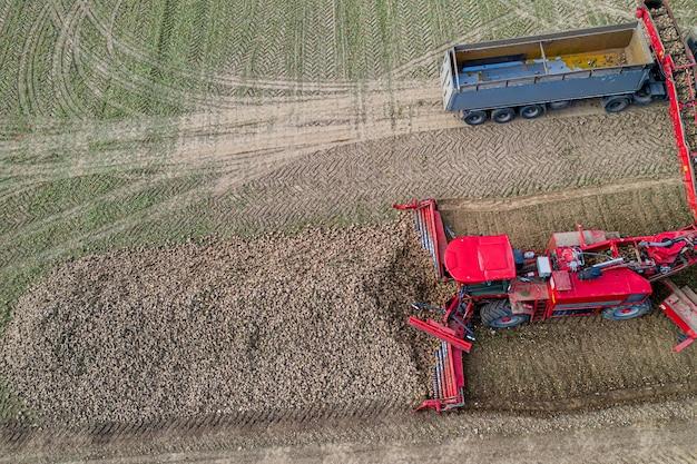 Maaidorser verwijdert suikerbieten, luchtfoto Premium Foto