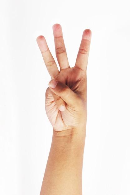 Maak een drievinger-symbool Premium Foto