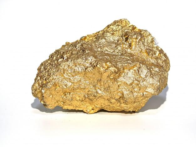 Macro gouden erts in de kei, edelsteen Premium Foto