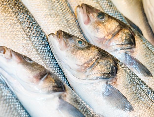 Macro-opname van verse vis in de winkel Gratis Foto