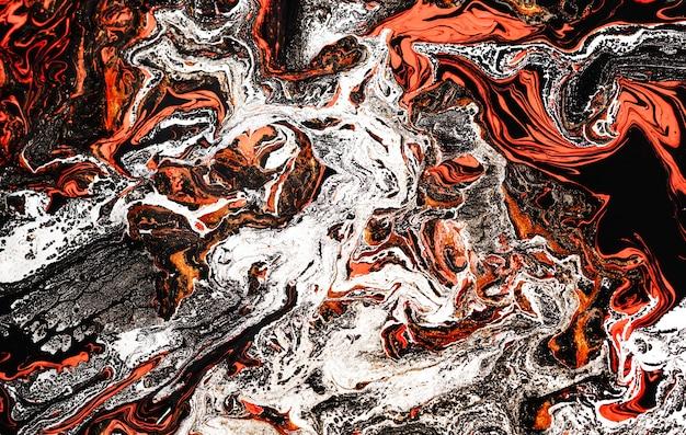 Magische oranjerood-gouden kleur. prachtig marmereffect. oude oosterse tekentechniek. Premium Foto