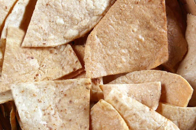 Maïs nachos totopos tortilla mexicaans eten Premium Foto