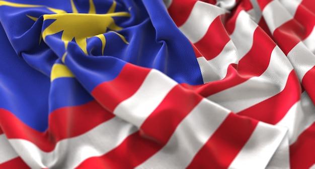 Maleisië vlag ruffled mooi wegende macro close-up shot Gratis Foto