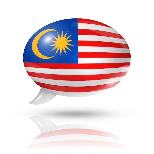 Maleisische vlag tekstballon Premium Foto