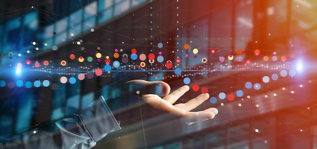 Man die een zakelijke beurs trading gegevens informatie Premium Foto