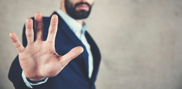 Man hand stop of geen teken Premium Foto